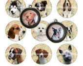Dogs (1) - circles image - digital collage sheet - 1 inch - instant download
