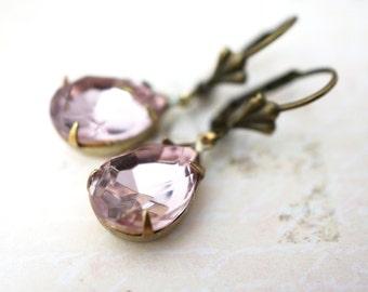 50% OFF Earrings, Lilac Pear crystal droplet dangle earrings No. 375 1