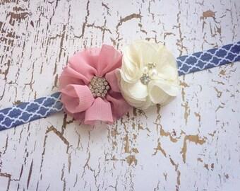Dusty Rose, Ivory and Grey Quatrefoil Headband