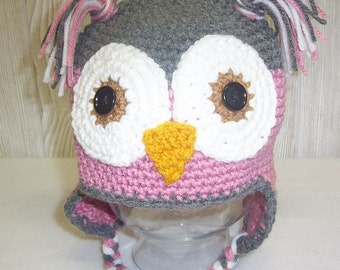 Owl Baby Photo Prop Earflap Beanie Newborn Baby Hat Grey Raspberry Pink or Aqua Crochet Baby Hat Pick Colors Made to Order