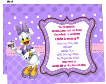 Daisy Duck Birthday Party Invitations Printed -  Personalized Birthday Invitations