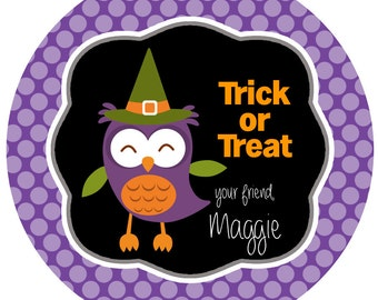 Halloween Witch Labels, Trick or Treat Personalized Sticker Labels, Owl Halloween Stickers, Custom Holiday Labels