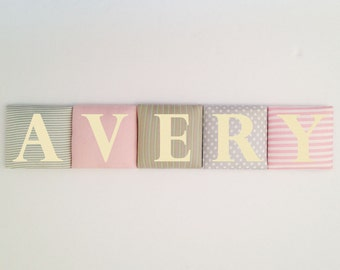Personalized nursery felt name banner, Nursery tiles, Baby pink & light gray wall art, Nursery hanging Letters, Made to match bedroom color