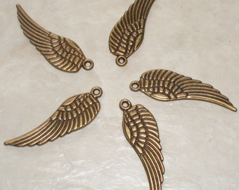 5 Antiqued Bronze Wing Charms