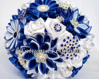 Brooch bouquet, Fabric bouquet, Wedding Bouquet, 5.5 inches, cornflower blue bouquet, white, silver
