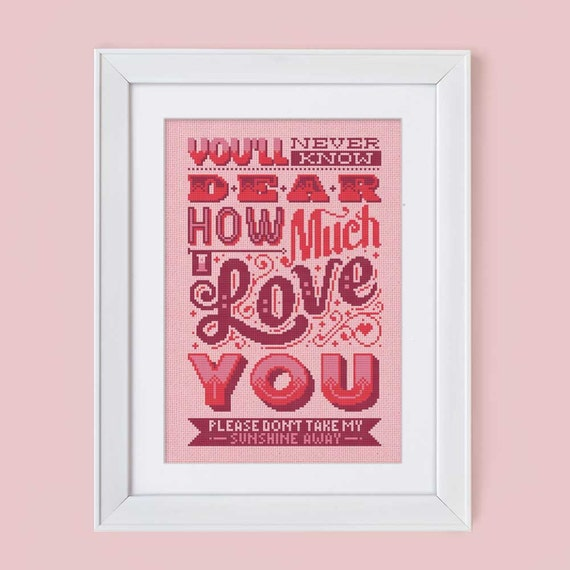 How Much I Love You - Cross Stitch Pattern (Digital Format - PDF)