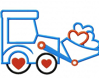Valentine Tractor with Hearts Machine Embroidery Design