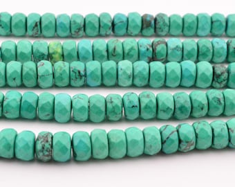 16 IN  8MM  Green Turquoise Faceted  Rondelles Bead