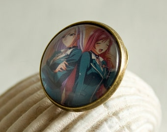 Rosario + Vampire Inner & Outer Moka / Round Pin 20 mm/  Special for Rosario + Vampire lovers