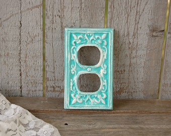 Double Outlet Covers, Shabby Chic, Double Wall Plate, Turquoise, Blue, Aqua, Ornate, Fleur de Lis, Cast Iron