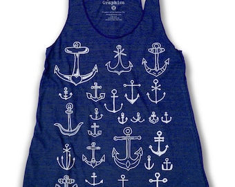 Anchor Graphic Print Women's Racerback Tank Top