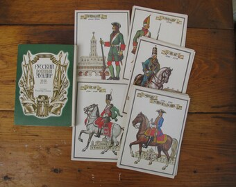 "Set of 32 Vintage Soviet Cards Print ""Russian military uniform of the 18th century"" -  Scrapbooking Embellishments Collage Art Gift Tags"