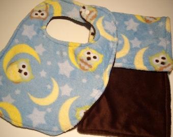 Baby Burp & Bib Set - Super Absorbent Triple Layer - READY TO SHIP - Minky Owl Bib and Burp Set - Owl Burp and Bib Set