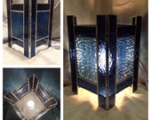 Blue Lantern Style Stained Glass Lamp