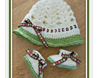 Ribbons Cloche and Angel Booties, Baby booties, Baby Hat