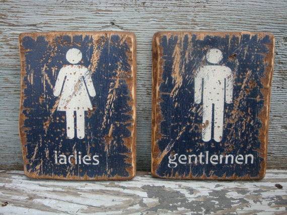Rustic Distressed Ladies And Gentlemen By Theunpolishedbarn