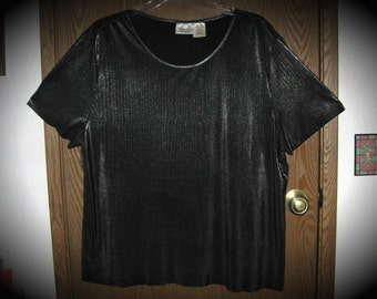 Kathie Lee 22W/24W Black Ribbed Shimmer Short Sleeve Top/Shirt/Blouse