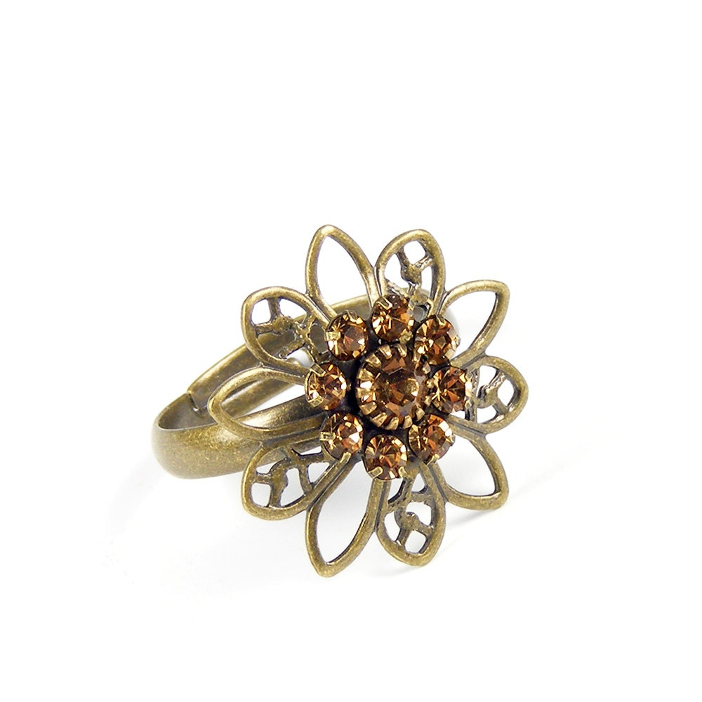 Topaz Statement Ring, Vintage Swarovski Crystal Flower, Vintage Inspired Adjustable Floral Ring in Light Colorado Topaz