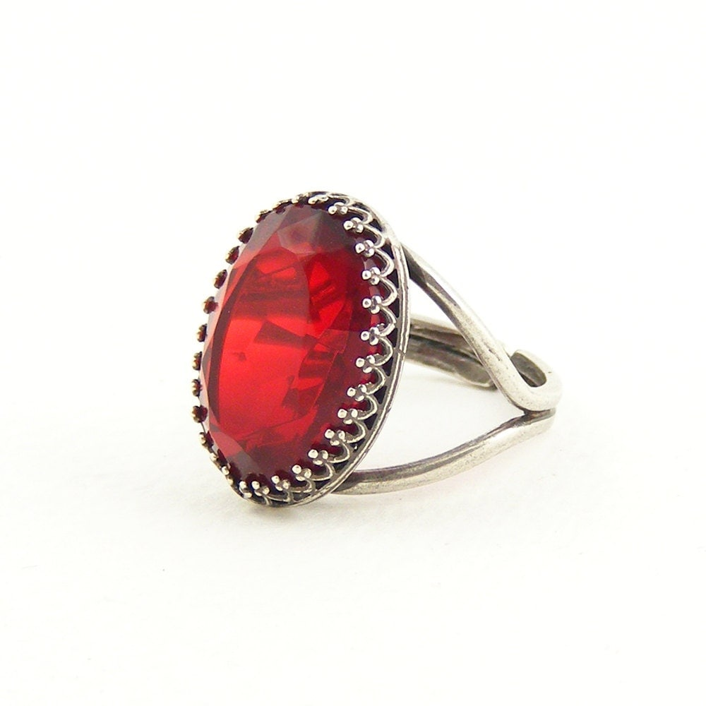 Ruby Red Cocktail Ring, Antique Silver & Crimson Vintage Crystal, Handcrafted Jewellery, Adjustable