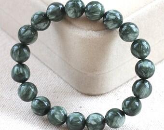 Genuine Seraphinite Bracelet 8MM, AAA Grade, Natural Russian Seraphinite Gemstone Beads, Real Seraphinite Round Beads, Seraphinite Jewelry