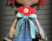 Handmade Primitive Raggedy with her Watering Can  Free Shipping Use code WINTER2015
