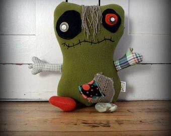 """Monster Plush - Merry Monsters - """"Boo"""" - Stuffie -  Handmade from Upcycled Materials"""