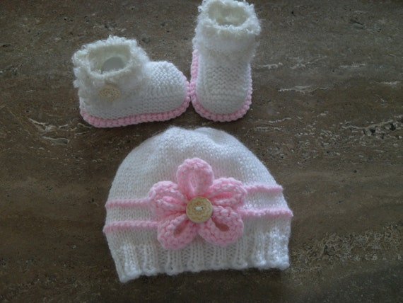 Instant Download Knitting Pattern Baby Girl Booties And Hat