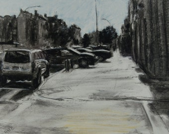 Original Drawing of a Brooklyn Street Scene by Robert Lafond