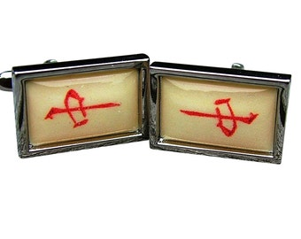 Mahjong 'Red Dragon' Cufflinks from a vintage 1920/30's bone & bamboo mahjong set tile