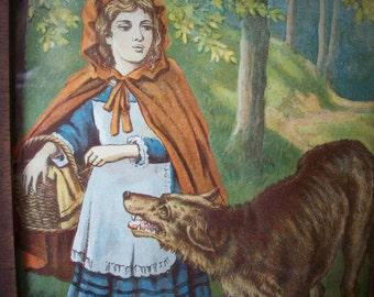 Little Red Ridinghood Print, Vintage Framed Print