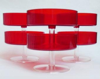Vintage Mid Century Mod Sherbet Cups East German Red Plastic Dessert Cups - Set of 6 - Retro Modern Home Decor