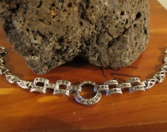 CLEARANCE - Magnificent Art Deco Sterling Silver Bracelet with Paste Stones Perfect for Wedding