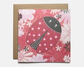 Red Ladybird Birthday Card - Blank Greeting Card