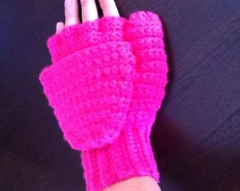 Crochet fingerless gloves with flap