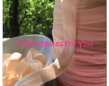 5yds Elastic Ribbon Fold Over Elastic Nude, natural HeadBands Ponytail 5/8 inch 15mm FOE Stretch Trim