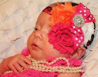 Hot Pink Headband/Shabby Chic Headband/Infant Headband/Baby Headband/Newborn Headband/Toddler Headband/Girls Headband/Baby Girl Headband