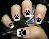 48 PAW PRINTS Nail Decals (PAW) - Kitten Puppy Dog Paws Black Cat Nail Art Nail Stickers. Black cat paw print nails, Cat Lover Gift