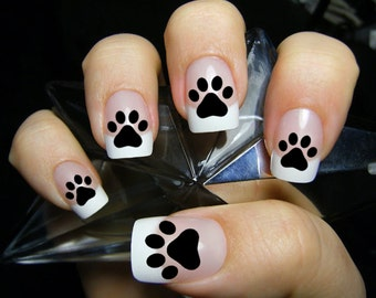 Dog nail art etsy 48 paw prints nail decals paw kitten puppy dog paws black cat nail prinsesfo Gallery