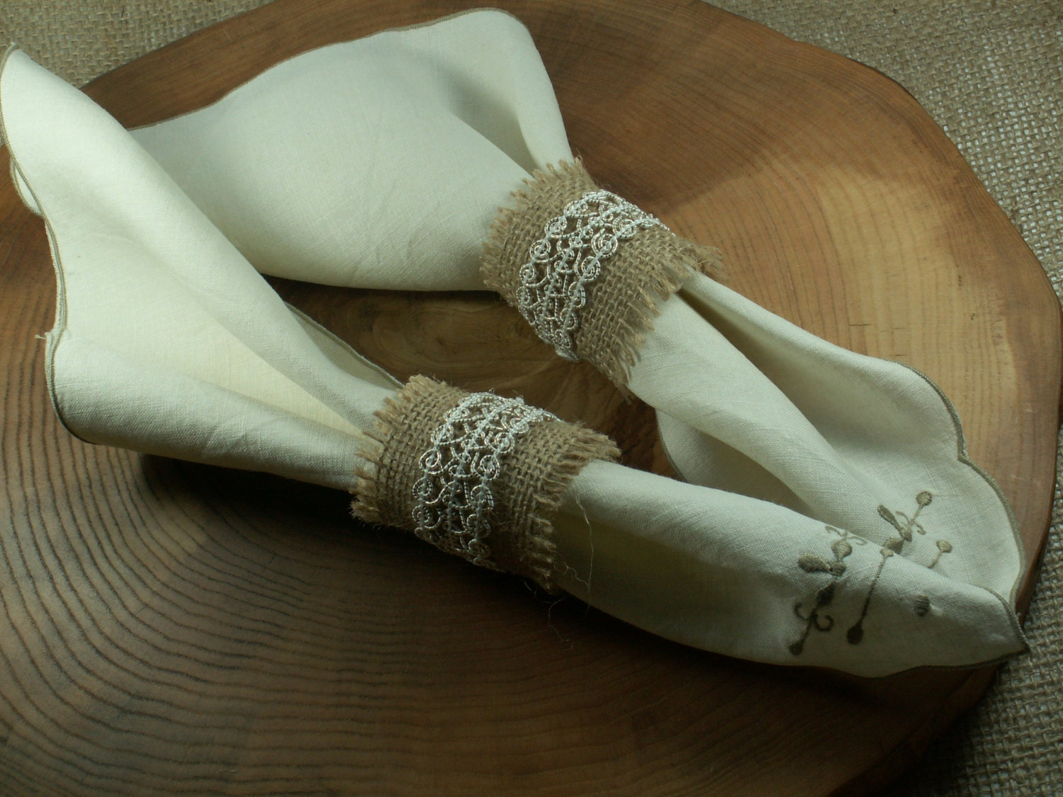 Rustic Style Rustic 60 Burlap Napkin Rings with lace Wedding