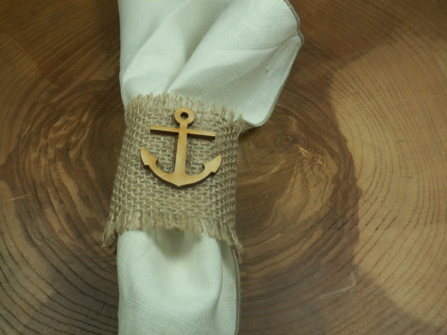 Rustic Style Rustic 50 Burlap Napkin Rings with wood anchor