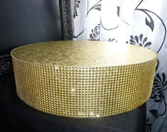"gold cake stand 12"", 14"" or 16"" round or square faux rhinestone gatsby wedding plateau riser cake pop cupcake display candy bar buffet table"
