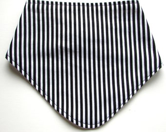 Baby Dribble Bib in Tiny Black and White Stripe Cotton Fabric