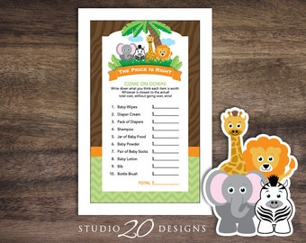 SALE! Instant Download Safari Price Is Right Baby Shower Game Cards, Printable Jungle Price Is Right, Lion Elephant Giraffe Baby Shower 57A