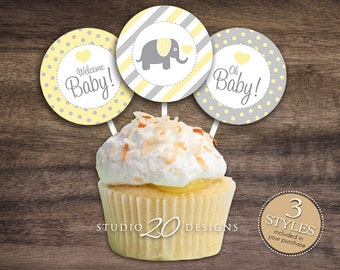 "Instant Download 2"" Yellow Elephant Cupcake Toppers, Yellow Grey Elephant Cupcake Toppers, Yellow Gray Elephant Baby Shower Toppers 22F"