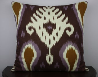 Dramatic, Bold, Purple Ikat 20x20 Decorative Throw Pillow Cover, Accent Pillow Cover