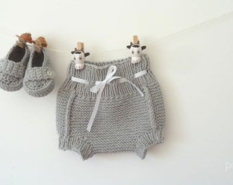 knit baby diaper cover + booties - knit baby set - baby pants - newborn photoprop