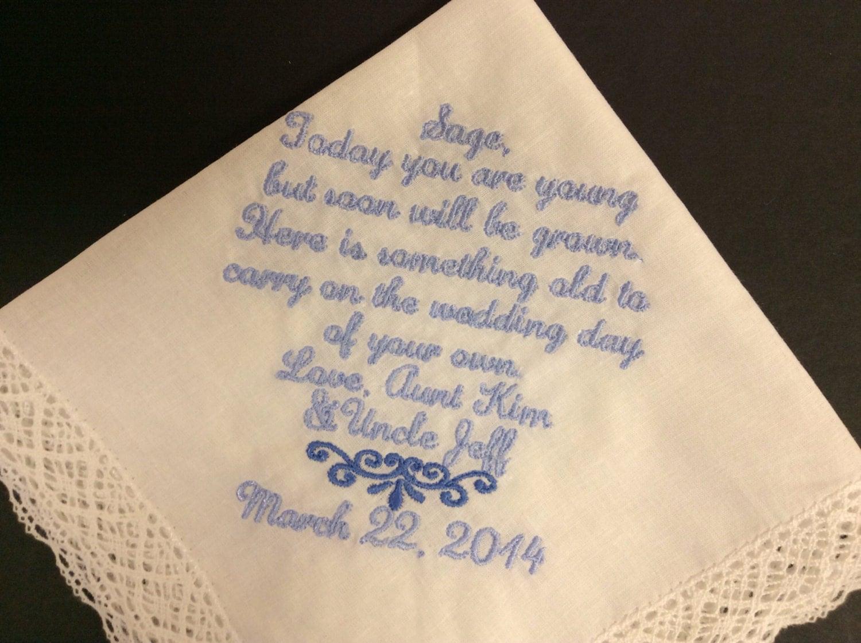 JUNIOR BRIDESMAID Flower Girl Wedding Handkerchief Keepsake