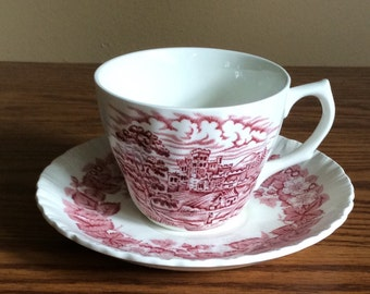 Vintage Bramble-Pink Transferware By Wedgewood Shell Edge Cup And Saucer * Mis-matched Set