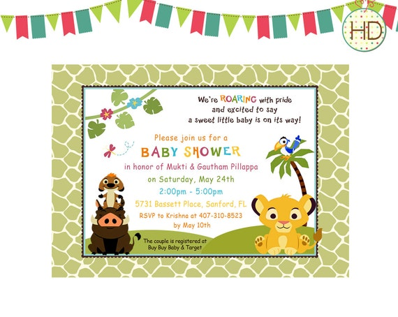 Baby Simba Shower Invitation