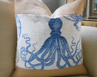 Octopus burlap coastal pillow cover 18x18